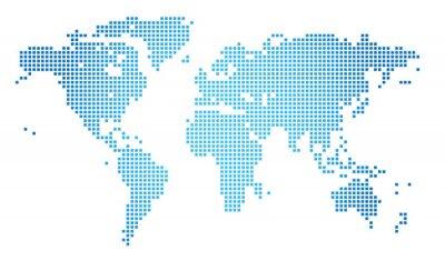 Quadro Abstract illustrazione vettoriale di una mappa del mondo tratteggiata