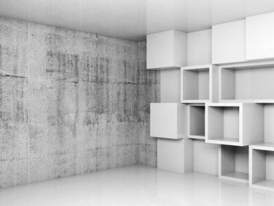 Quadro Abstract interno vuoto con cubi bianchi