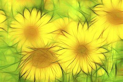 Quadro abstrakte moderne Illustrazione gelbe Sonnenblumen