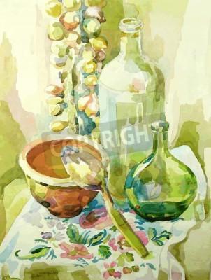 Quadro acquarello cucina a mano natura morta con vaso, bottiglia di vetro, cucchiaio e arco