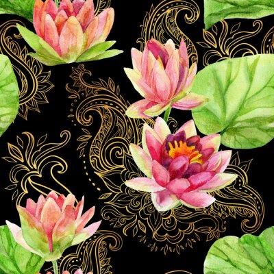 Quadro acquarello fiore di loto su ornamento d'oro. Seamless pattern