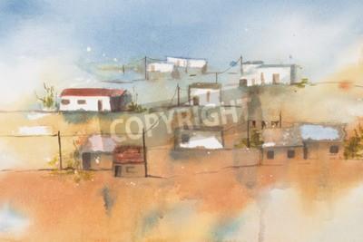 Quadro Acquarello originale, African Village.