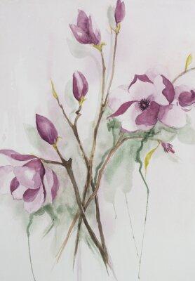 Quadro Acquarello originale, fiori di magnolia.