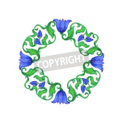 Acquarello Tondo Blu Ornamento Floreale Con Foglie Verdi Su Sfondo