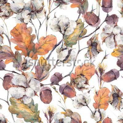 Quadro Acquerello autunno sfondo vintage con ramoscelli, fiori di cotone, foglie di quercia gialla e ghiande. Modello senza cuciture grafiche botaniche dell'acquerello