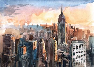 Quadro Acquerello dei grattacieli di Manhattan al tramonto - torri di New York City