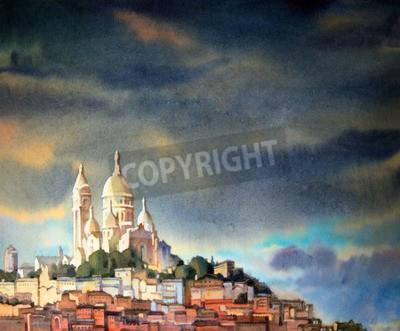 Quadro acquerello dei Montmartre, nella città di Parigi, Francia.