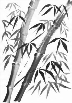 Quadro Acquerello di due steli di bambù dipinti con grunge colpi. Gouache nero su studio di carta bianca.
