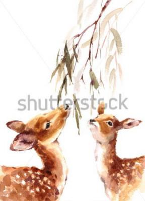 Quadro Acquerello due cervi che rispetta il brunch con l'illustrazione dipinta a mano delle foglie isolato su fondo bianco
