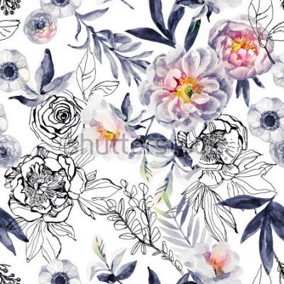 Quadro Acquerello e inchiostro doodle fiori, foglie, erbacce senza cuciture. Dipinto a mano, sfondo floreale disegnato con peonie, anemoni, ranuncoli, ramo di rosa canina, erbe di prato