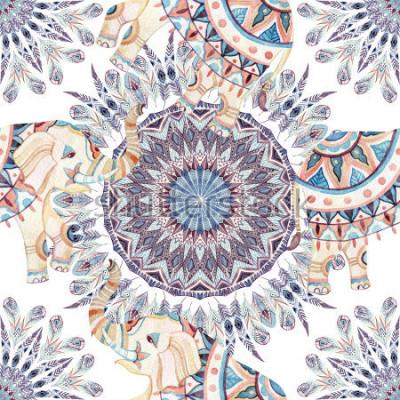 Quadro Acquerello elefante etnico e piuma sfondo mandala. Modello senza cuciture della mandala astratta della piuma con gli elefanti indiani decorati su fondo bianco. Illustrazione dipinta a mano per boho, d
