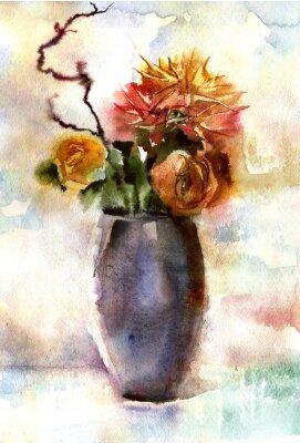 Quadro Acquerello mazzo di fiori