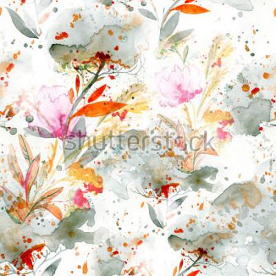 Quadro acquerello naif - versando e spruzzi. motivi floreali modello senza cuciture dipinto a mano. sfondo per arredamento e design tessile. carta da parati botanica. cornice floreale boho chic art