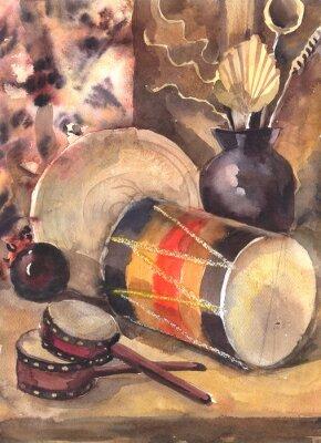 Quadro Acquerello natura morta con un tamburo