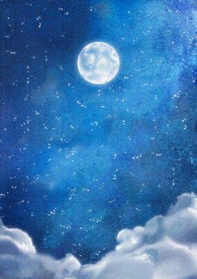 Quadro Acquerello Nightly Nuvole