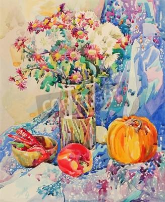 Quadro acquerello originale natura morta con fiori, zucca, mela, drappeggi e peperoncino, pittura impressionista, illustrazione vettoriale