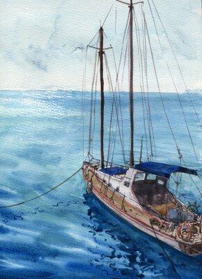 Quadro acquerello paesaggio marino con barche