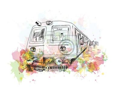 Quadro Acquerello schizzo del treno locale di Mumbai in illustrazione vettoriale.