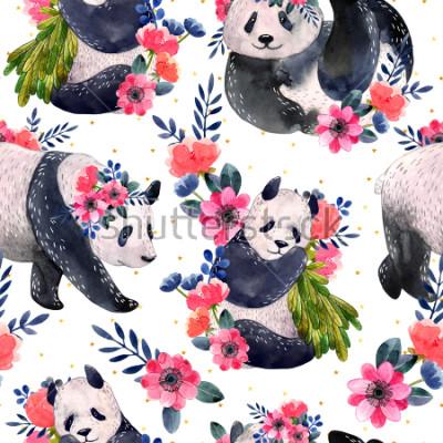 Quadro Acquerello seamless con panda e fiori isolati su uno sfondo bianco. Stelle dorate sullo sfondo Illustrazione ad acquerello