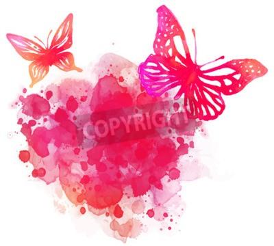Quadro acquerello sfondo stupefacente con la farfalla. Vector art isolato su bianco