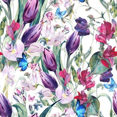 Quadro Acquerello Sfondo trasparente con piselli dolci, tulipani