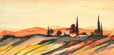 Quadro Acrylfarben Gemälde einer stark farbigen bunten Toskana Landschaft mit Haus, Bäumen und Zypressen mit fließender Farbe, Farbspritzern und Tropfen mit Textfreiraum