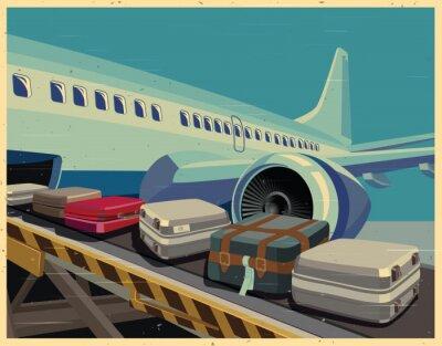 Quadro aerei civili e bagagli vecchio poster