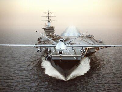 Quadro Aerei militari Drone lancio da una portaerei in una missione sciopero. rendering 3D