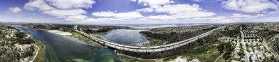 Quadro Aerial Panoramic of Batisquitos Lagoon in Carlsbad, California, USA.