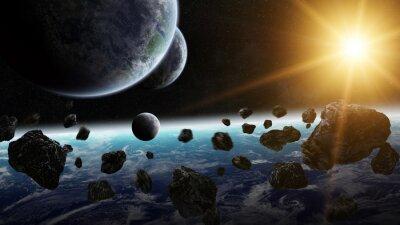 Quadro Alba sul gruppo di pianeti nello spazio