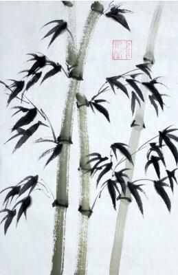 Quadro Alberi di bambù luminosi