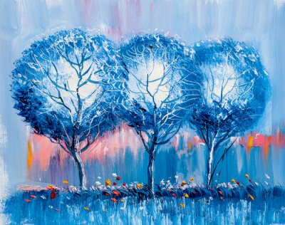 Quadro Alberi, pittura a olio, sfondo artistico