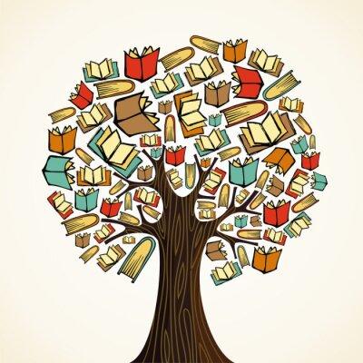 Quadro Albero concetto di educazione con i libri