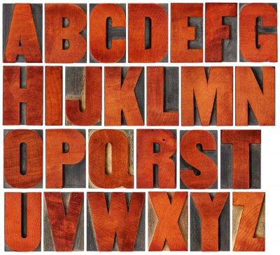 Quadro alfabeto impostato in tipografica tipo di legno