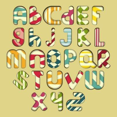 Quadro alfabeto multicolore a righe