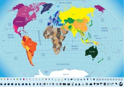 Quadro alta dettagliata mappa del mondo