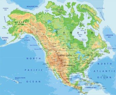 Alta Dettagliata Mappa Fisica Del Nord America Con Letichettatura