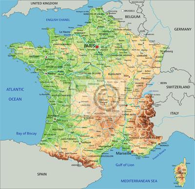 Cartina Francia Sud Dettagliata.Alta Dettagliata Mappa Fisica Francia Con Letichettatura Dipinti Da Parete Quadri Calais Lyon Monaco Myloview It