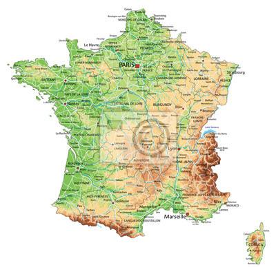 Cartina Geografica Francia Dettagliata.Quadro Alta Dettagliata Mappa Fisica Francia Con Letichettatura