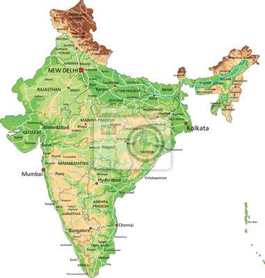 India Fisica Cartina.Alta Dettagliata Mappa Fisica In India Con Letichettatura Dipinti Da Parete Quadri Bombay Delhi Himalaya Myloview It