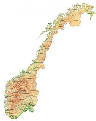La Norvegia Cartina.Alta Mappa Dettagliata Della Norvegia Con Etichettatura Dipinti Da Parete Quadri Oslo Norvegia Mappatura Myloview It