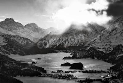 Quadro Alta vista della valle con i villaggi di odio Engadina Sils Maria, dove ha vissuto il filosofo Nietzsche