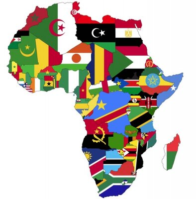 Quadro Altamente dettagliata Africa Mappa Con Bandiere Paese.