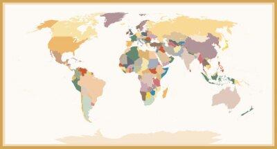 Quadro Altamente dettagliata Colori cieco World Political Map Vintage
