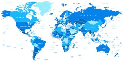 Quadro Altamente dettagliata illustrazione vettoriale di map.Borders mondo, paesi e città.