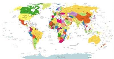 Quadro Altamente dettagliata Political World Map Isolato Su Bianco