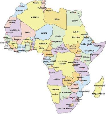 Quadro Altamente dettagliato Africa Mappa politica.