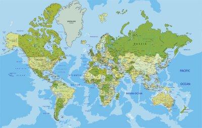 Quadro Altamente dettagliato mappa politica del mondo con l'etichettatura.
