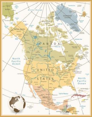 Quadro America del Nord dettagliata mappa colori retrò