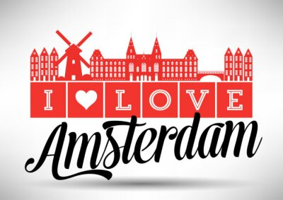 Quadro Amo Amsterdam Skyline design